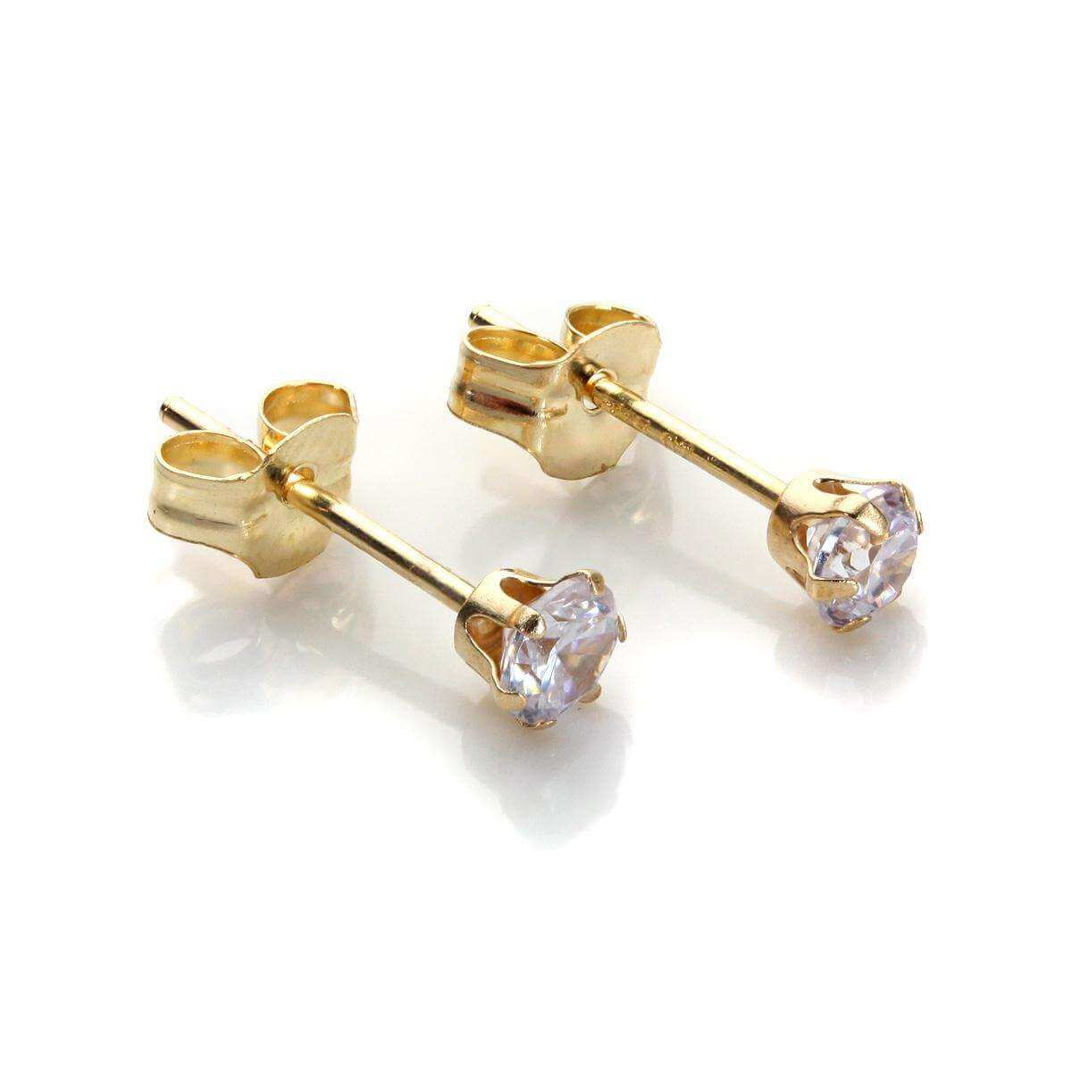 9ct Yellow Gold Lilac Crystal 3mm Round Stud Earrings