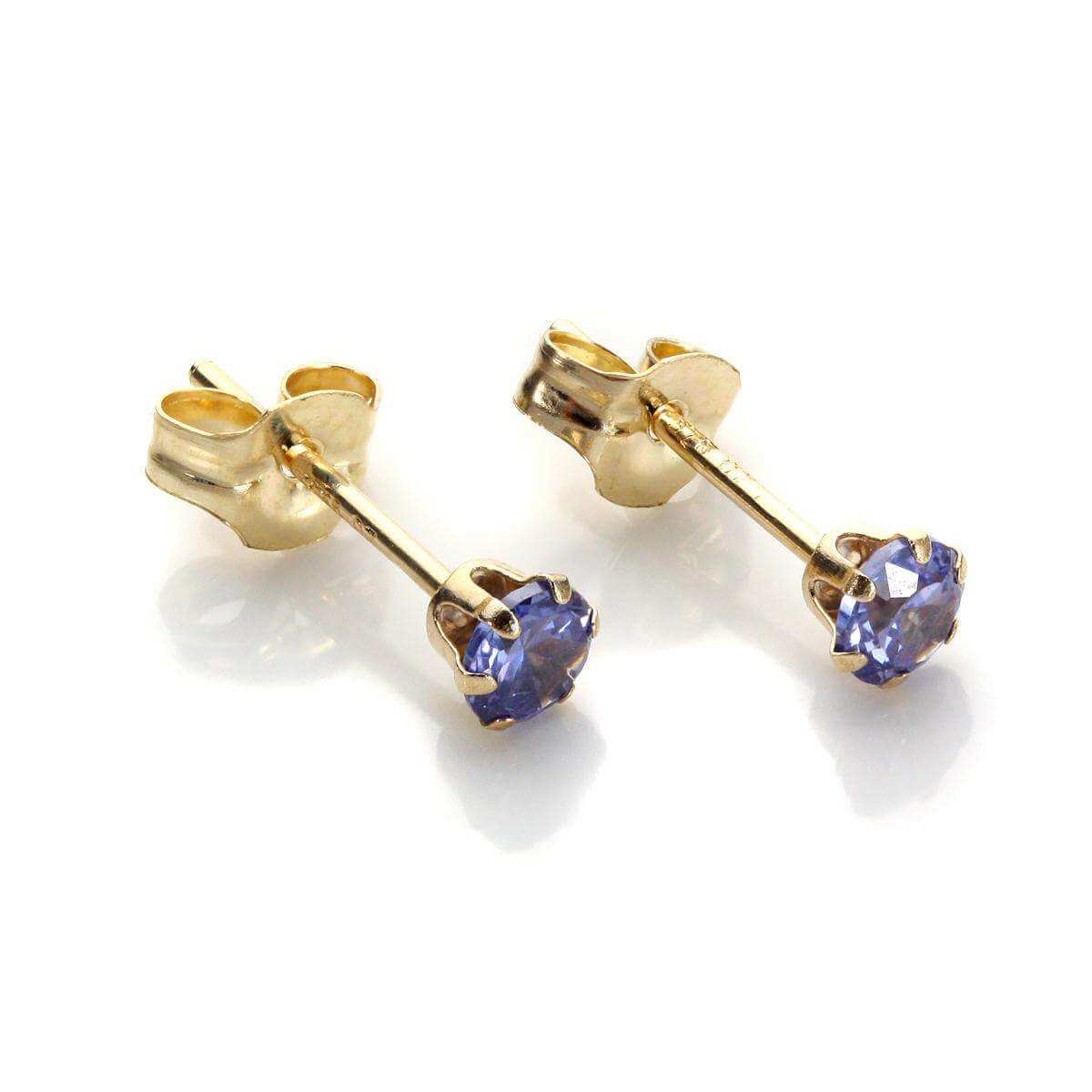 9ct Yellow Gold Tanzanite Crystal 3mm Round Stud Earrings
