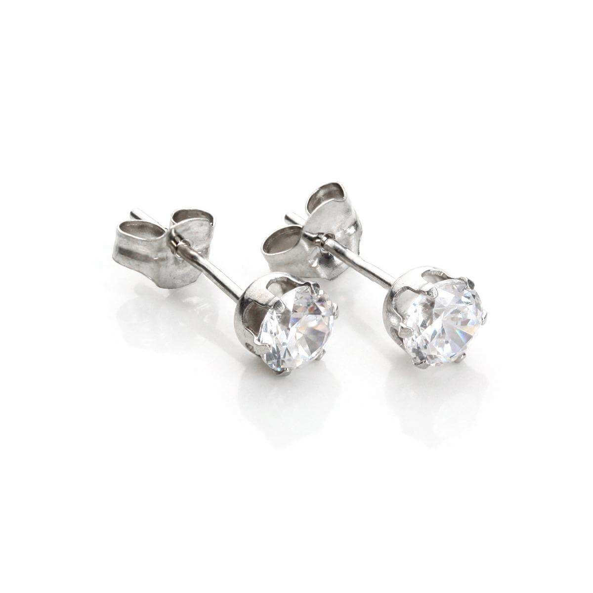 9ct White Gold Clear Crystal 4mm Round Stud Earrings