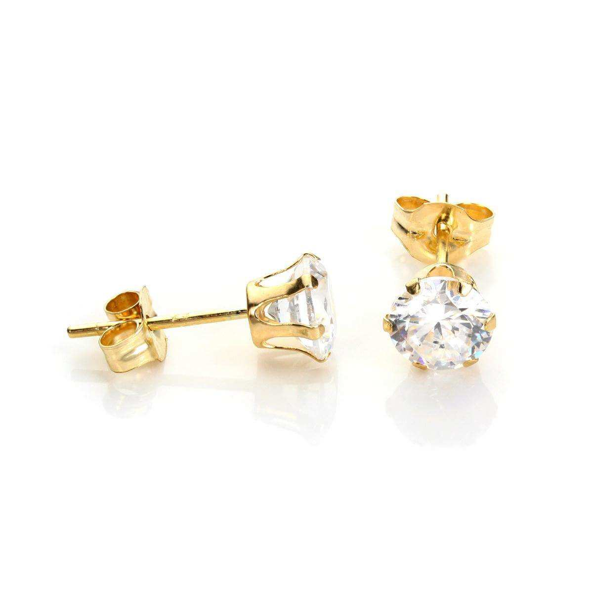 9ct Yellow Gold Clear Crystal 5mm Stud Earrings