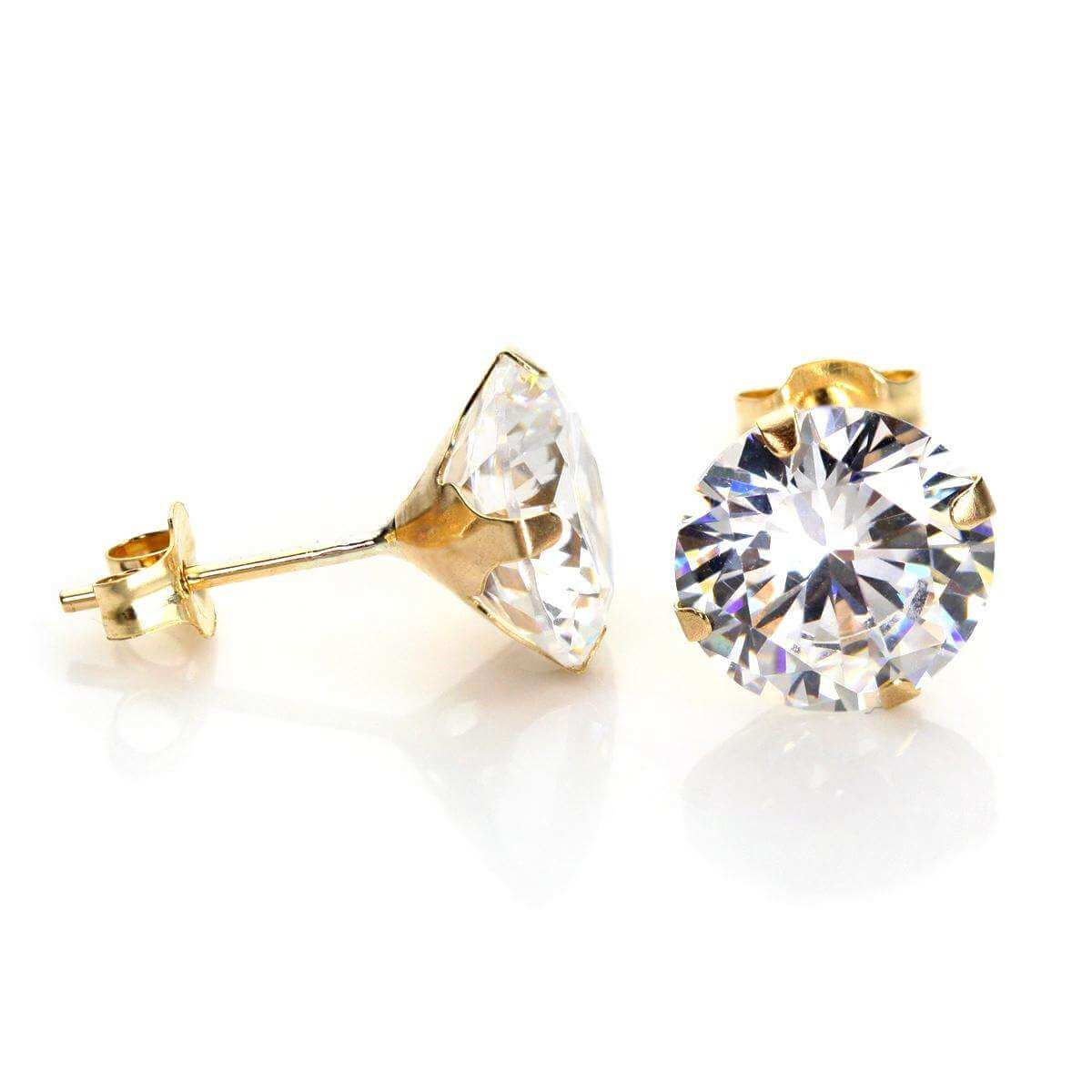 9ct Yellow Gold Clear Crystal 8mm Stud Earrings