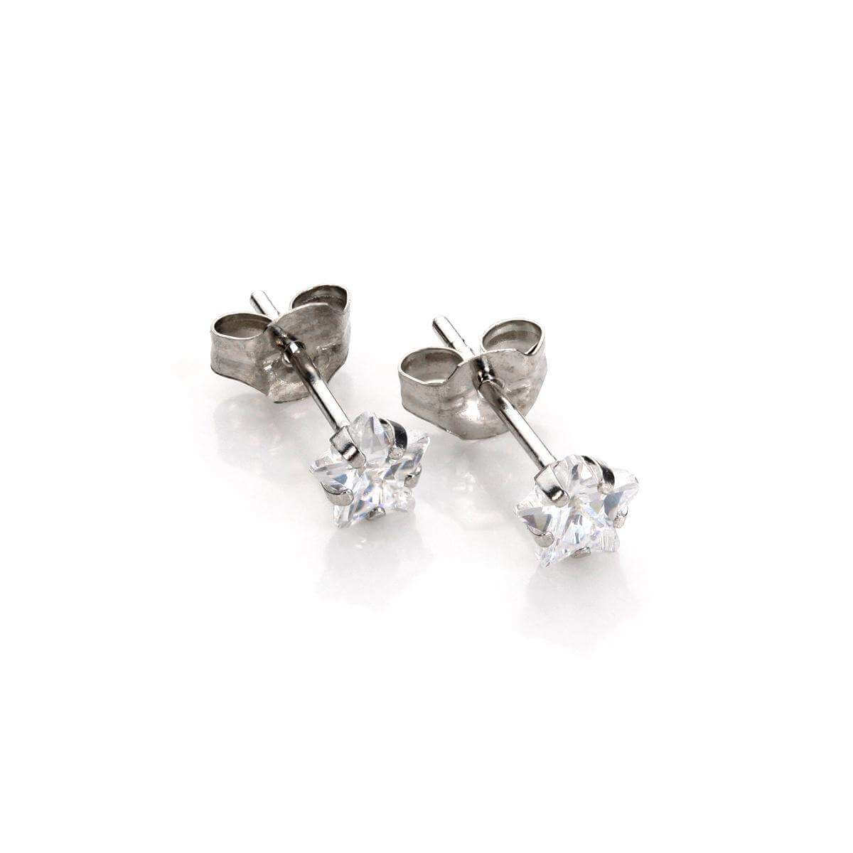 9ct White Gold Clear Crystal 4mm Star Stud Earrings