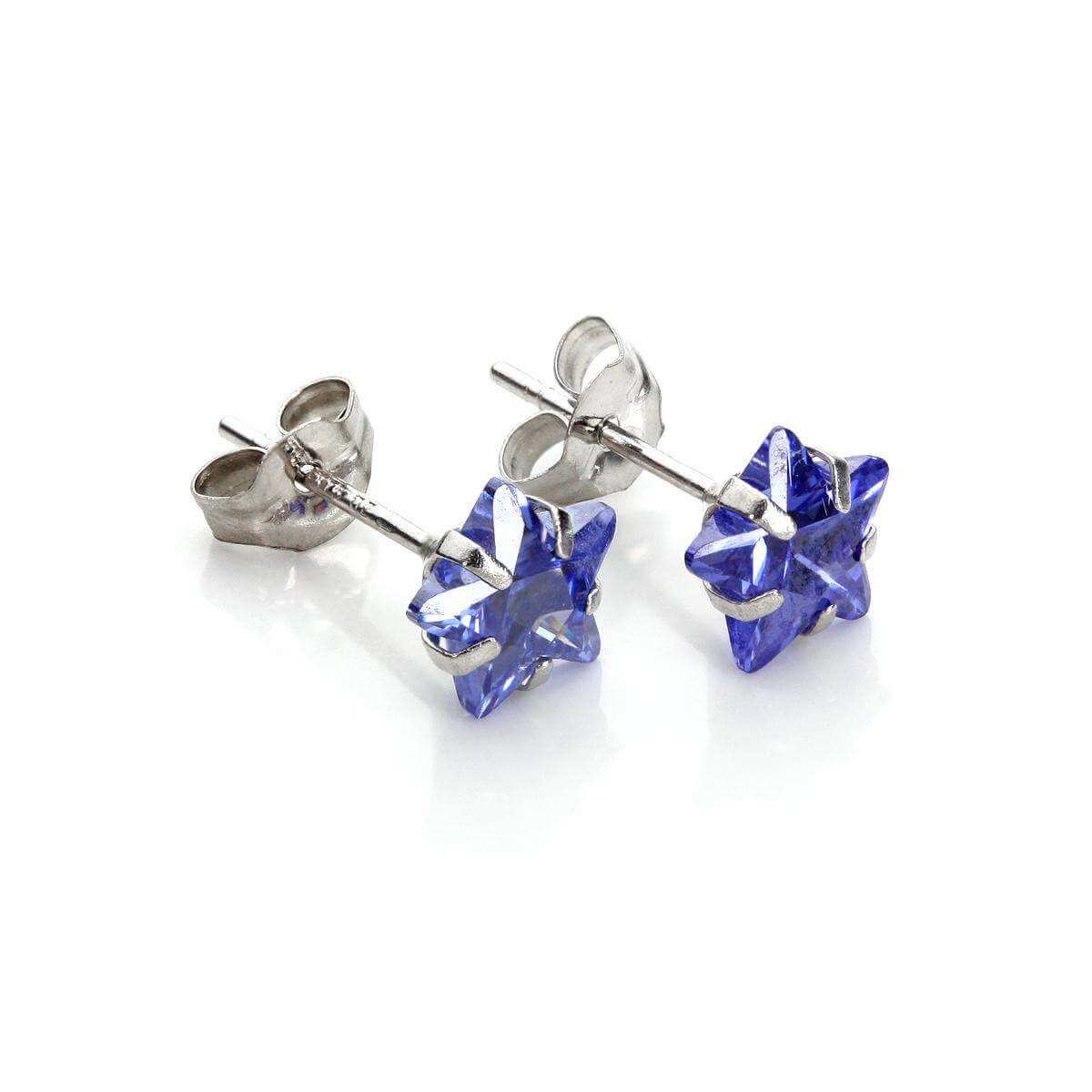 9ct White Gold Tanzanite Crystal 6mm Star Stud Earrings
