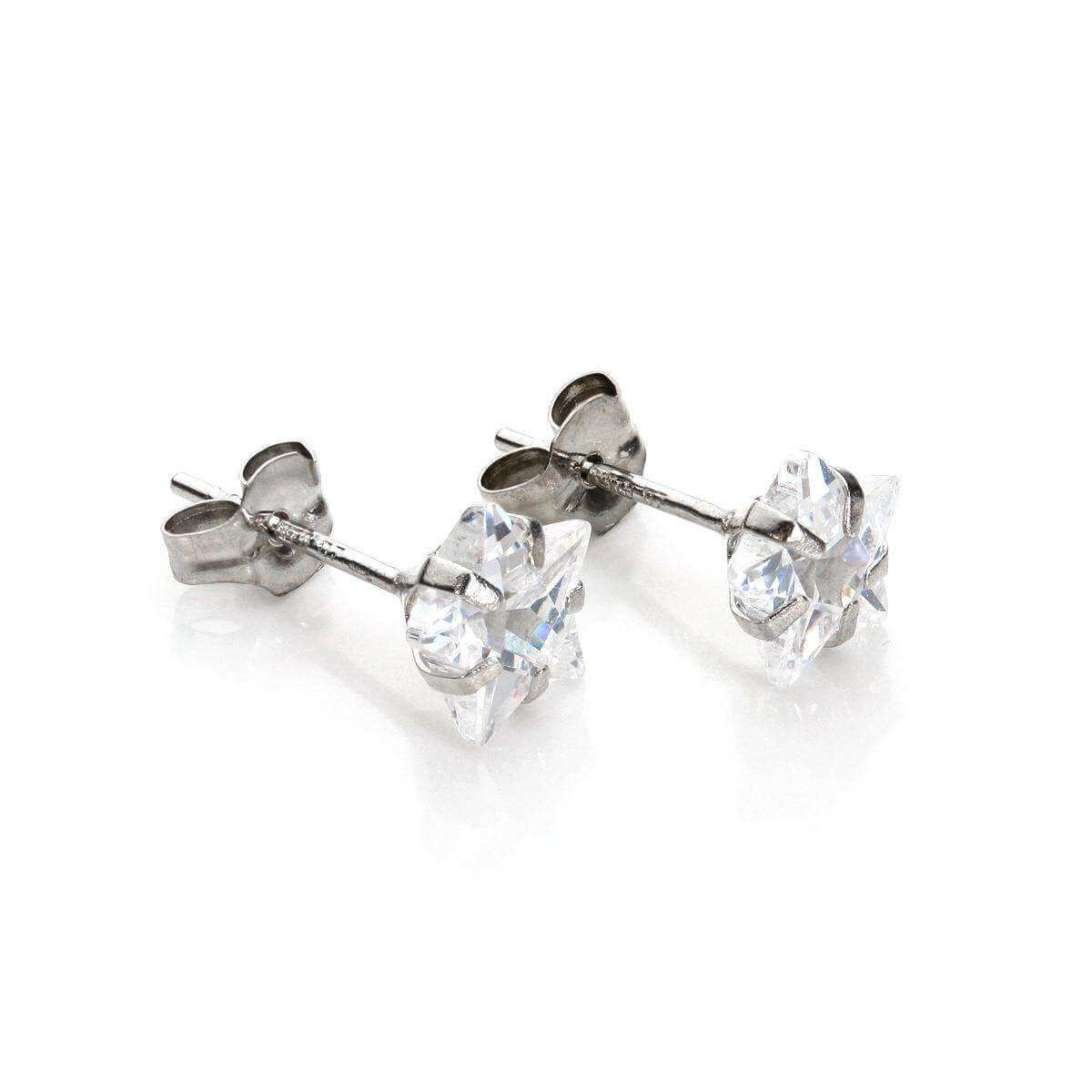 f94552951 9ct White Gold Clear Crystal 6mm Star Stud Earrings | JewelleryBox ...