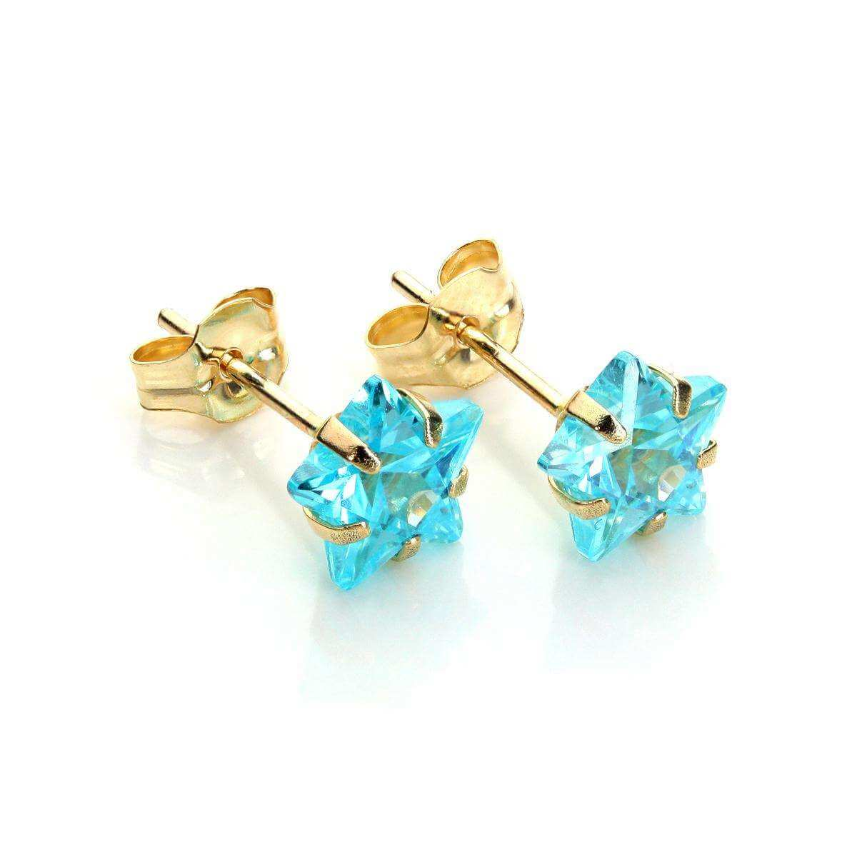 9ct Yellow Gold Aquamarine Crystal 6mm Star Stud Earrings