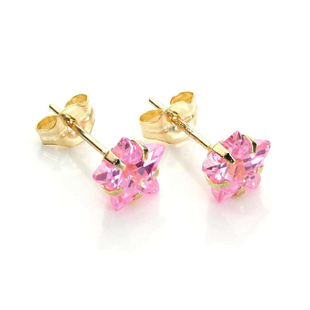 9ct Yellow Gold Pink Crystal 6mm Star Stud Earrings