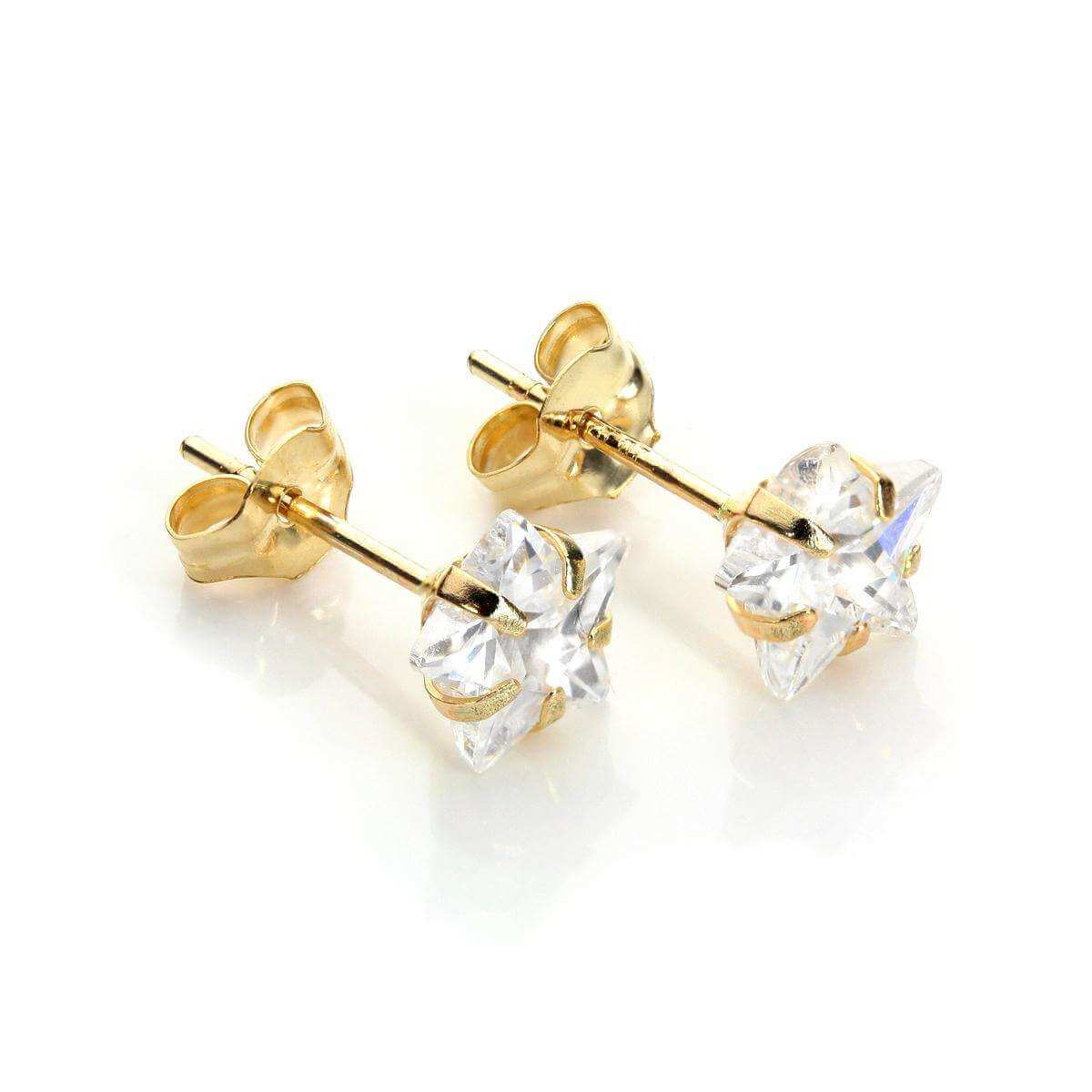 9ct Yellow Gold Clear Crystal 6mm Star Stud Earrings