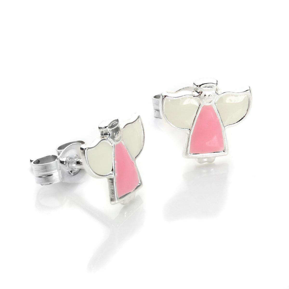 Sterling Silver Enamelled Angel Stud Earrings