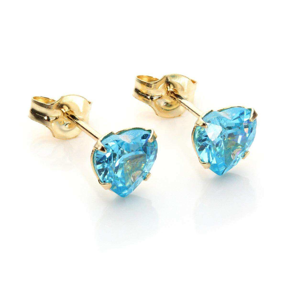 9ct Yellow Gold Aquamarine CZ 5mm Heart Stud Earrings