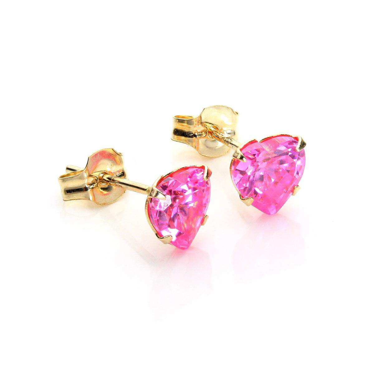 9ct Yellow Gold Pink CZ 5mm Heart Stud Earrings
