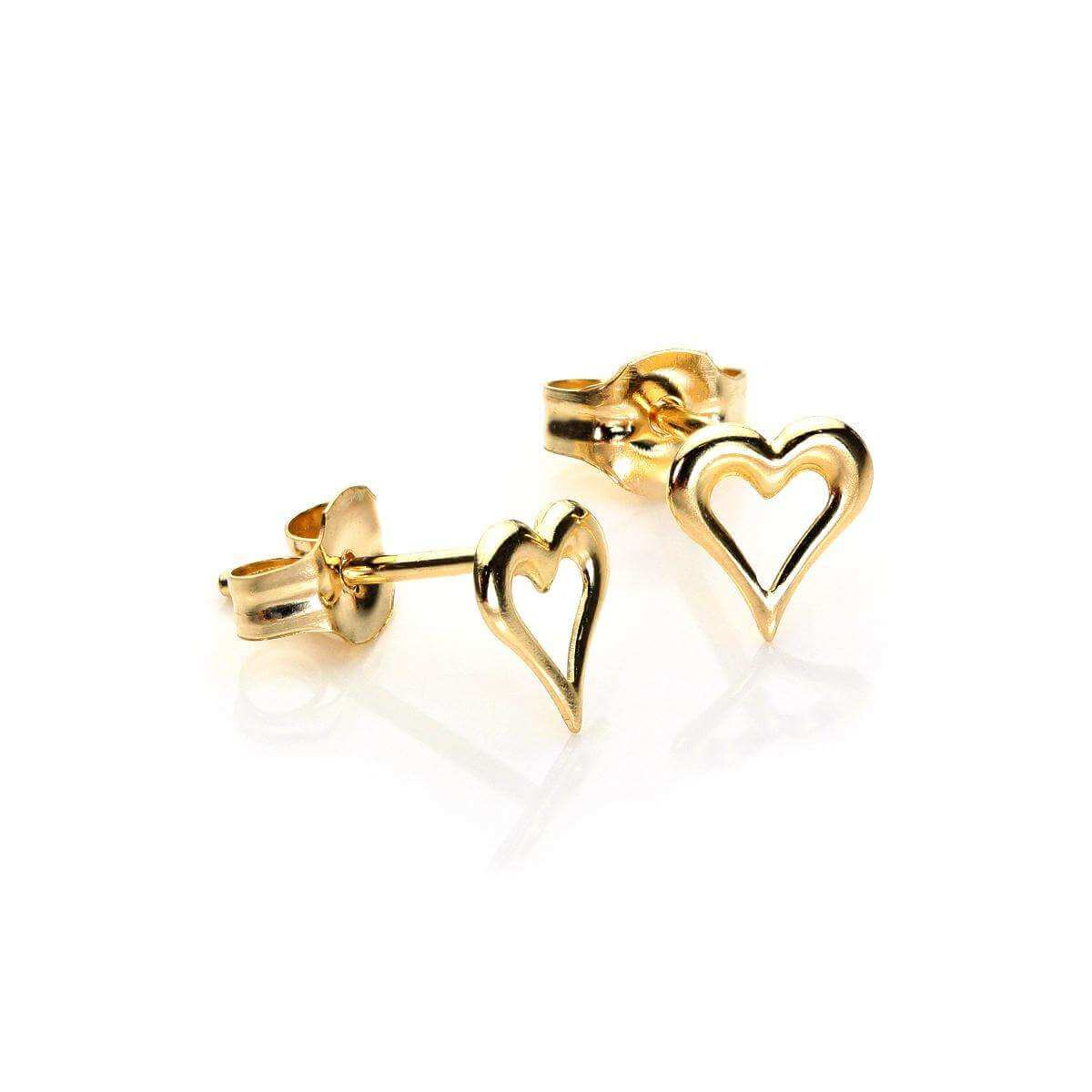 9ct Yellow Gold Small Pierced Heart Stud Earrings