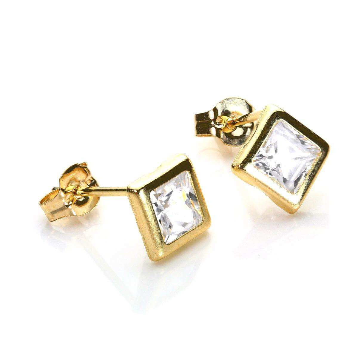 9ct Yellow Gold Clear CZ 5mm Square Stud Earrings
