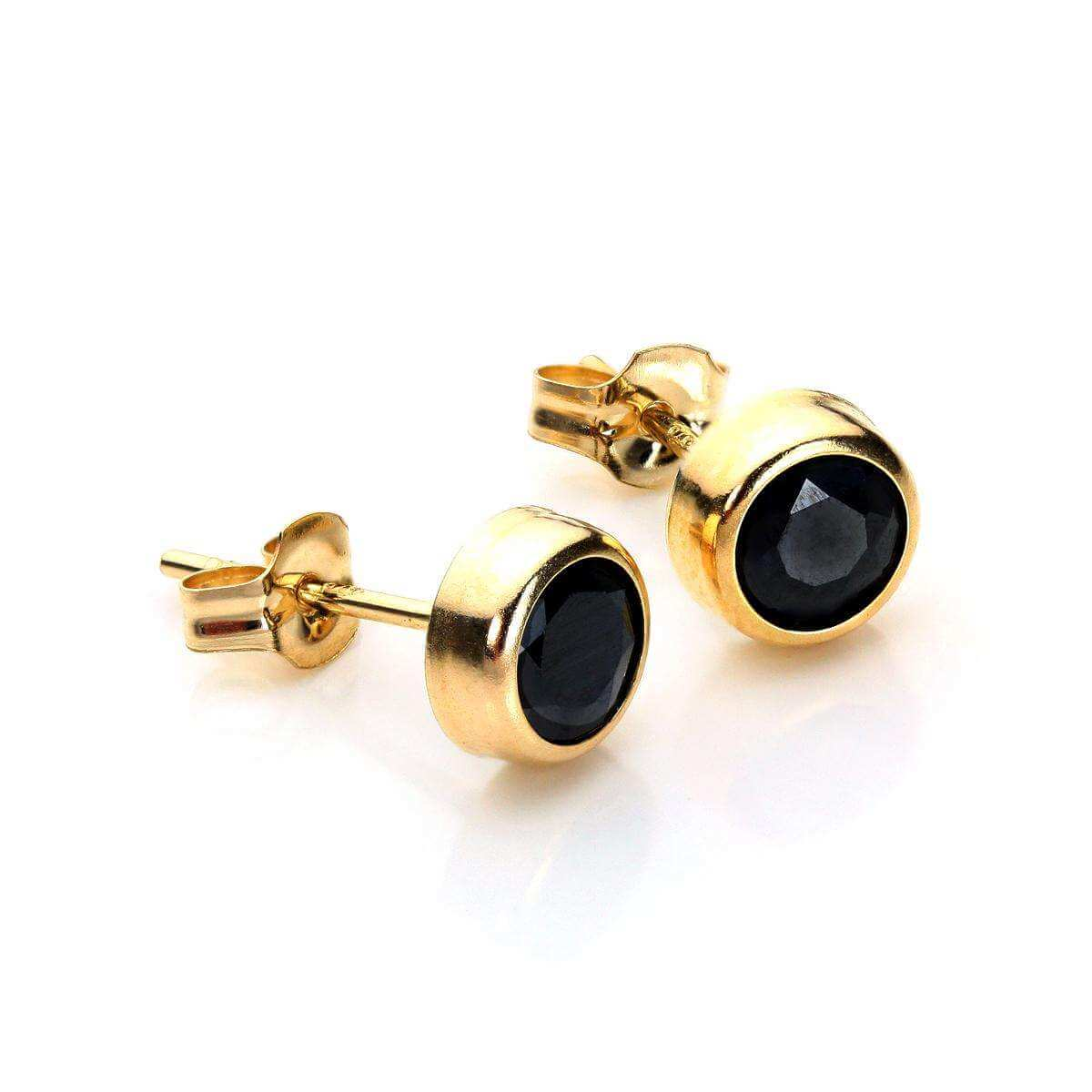 9ct Yellow Gold Sapphire 5mm Round Stud Earrings