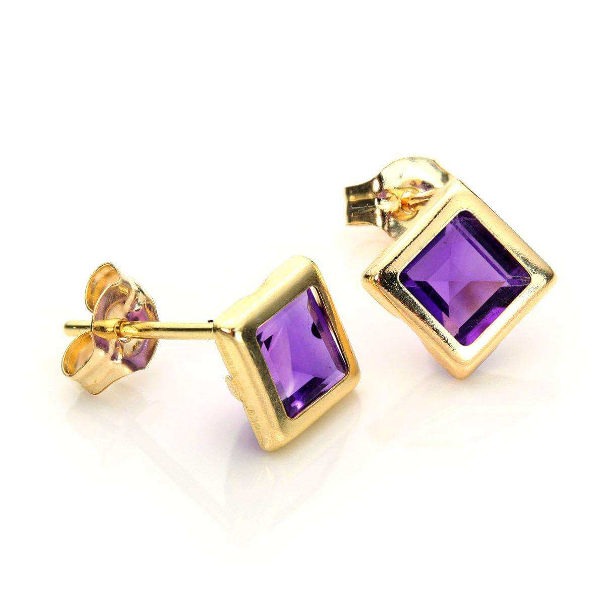 9ct Yellow Gold Amethyst 5mm Stud Earrings