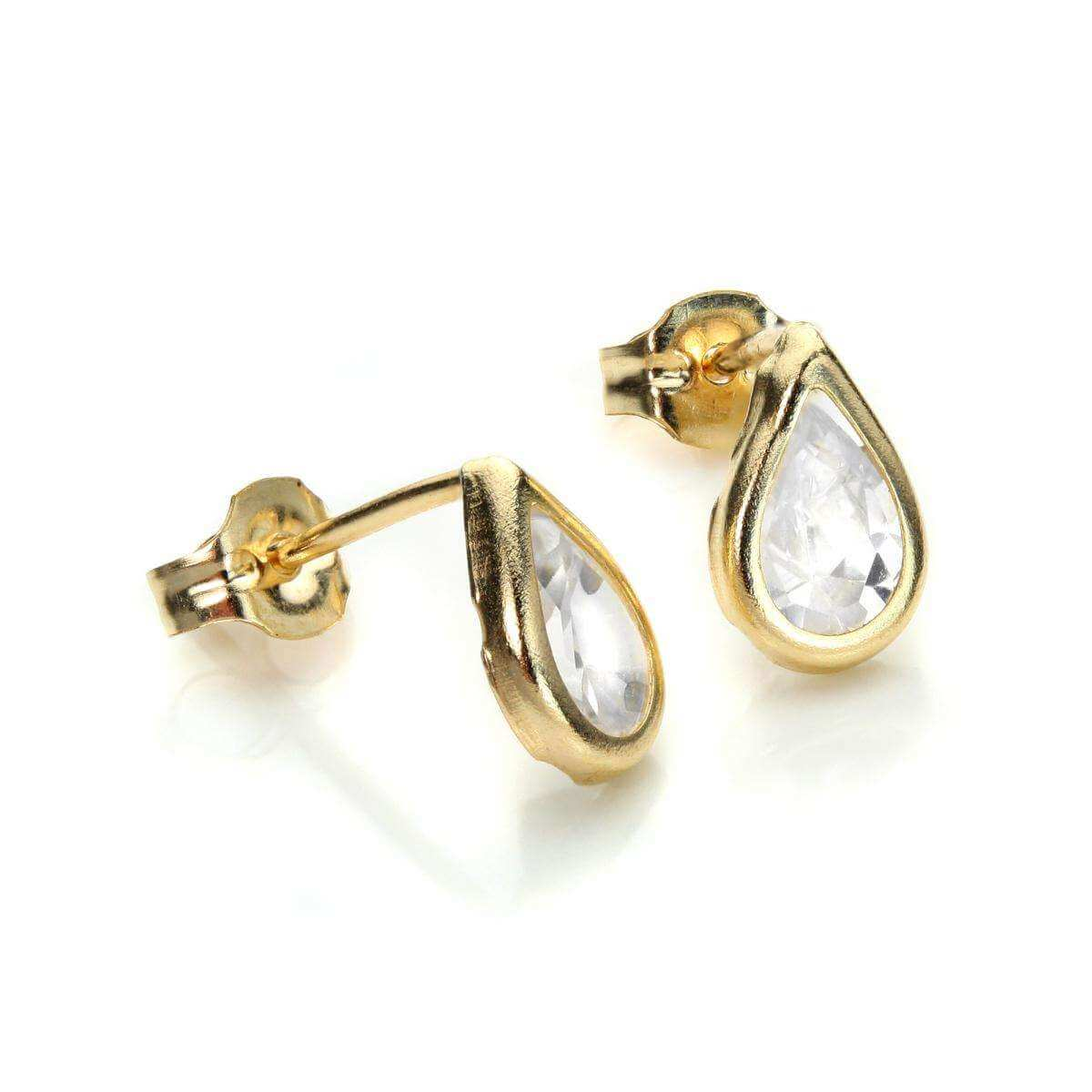 9ct Yellow Gold Diamond CZ April Birthstone Stud Earrings