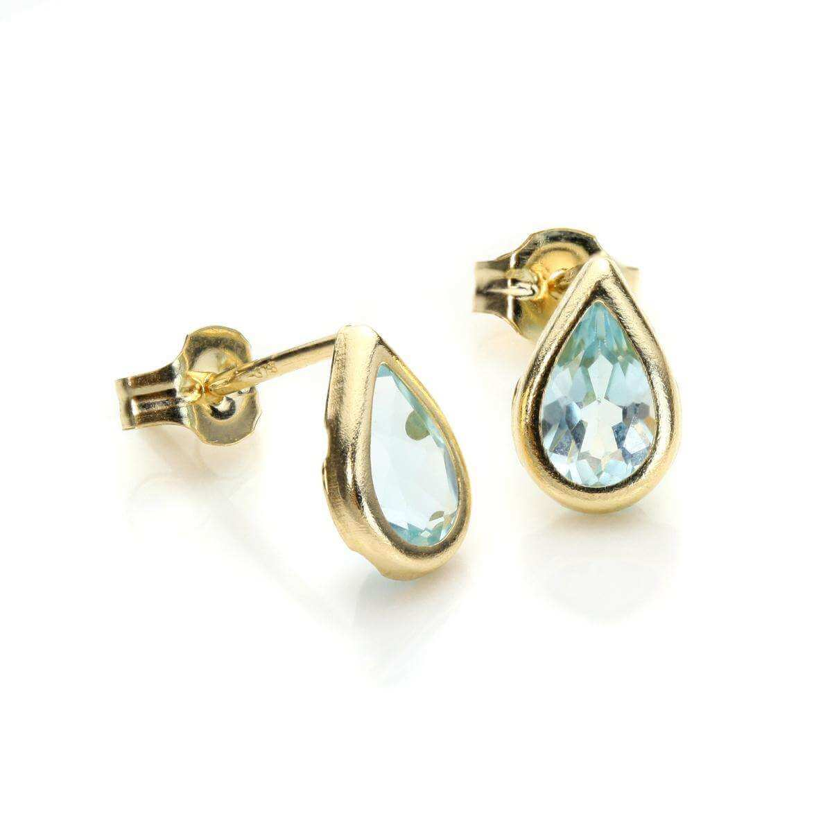 9ct Yellow Gold Aquamarine CZ March Birthstone Stud Earrings