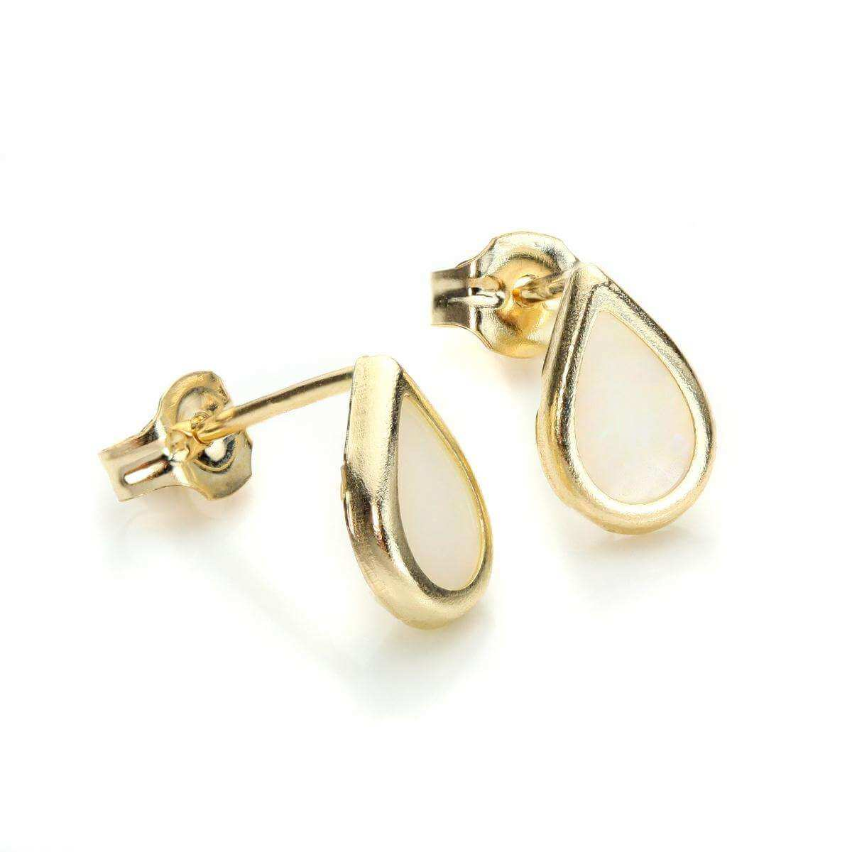 9ct Yellow Gold Opal October Birthstone Stud Earrings