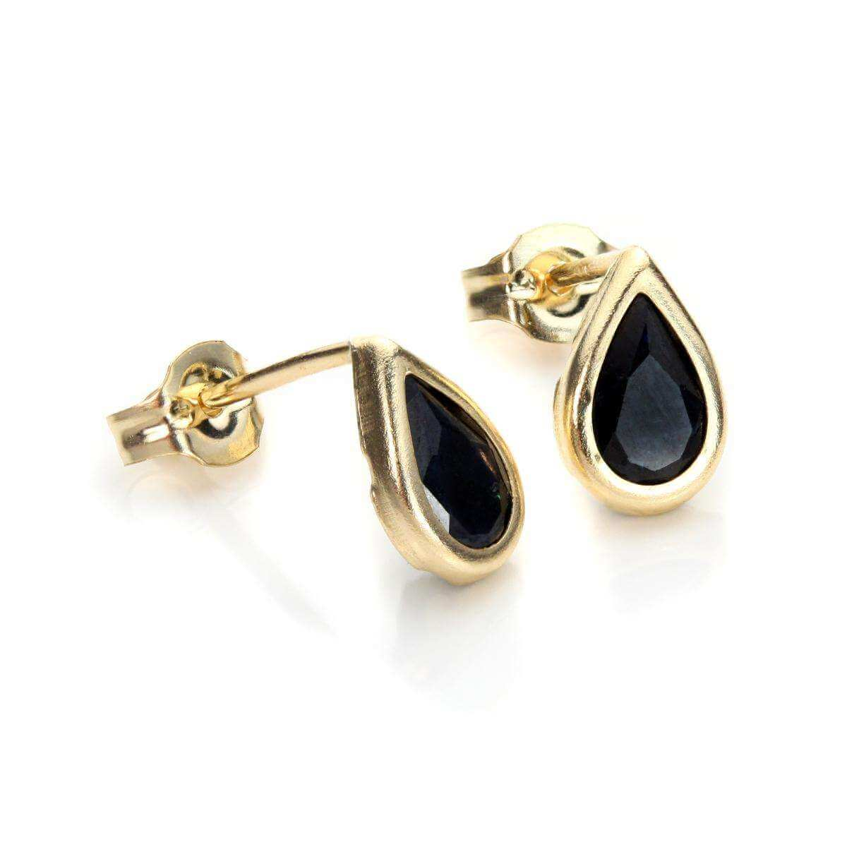 9ct Yellow Gold Sapphire September Birthstone Stud Earrings