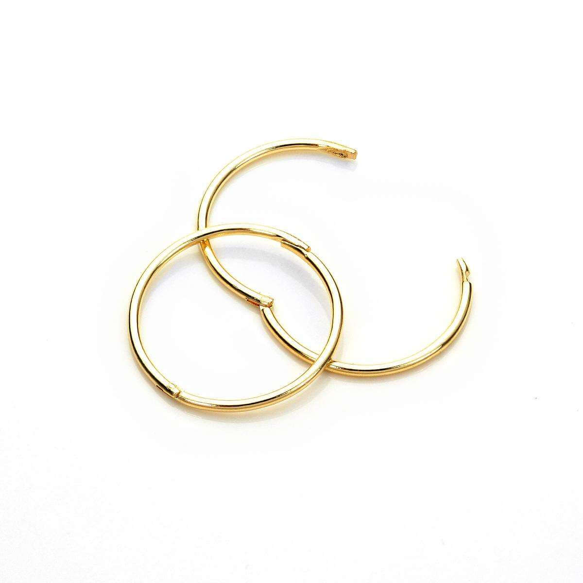 9ct Yellow Gold 15mm Plain Hoop Earrings