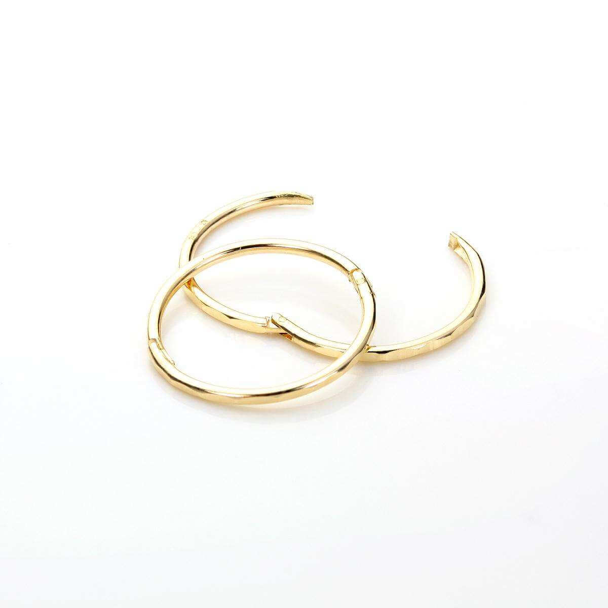 9ct Yellow Gold 13mm Faceted Hoop Earrings