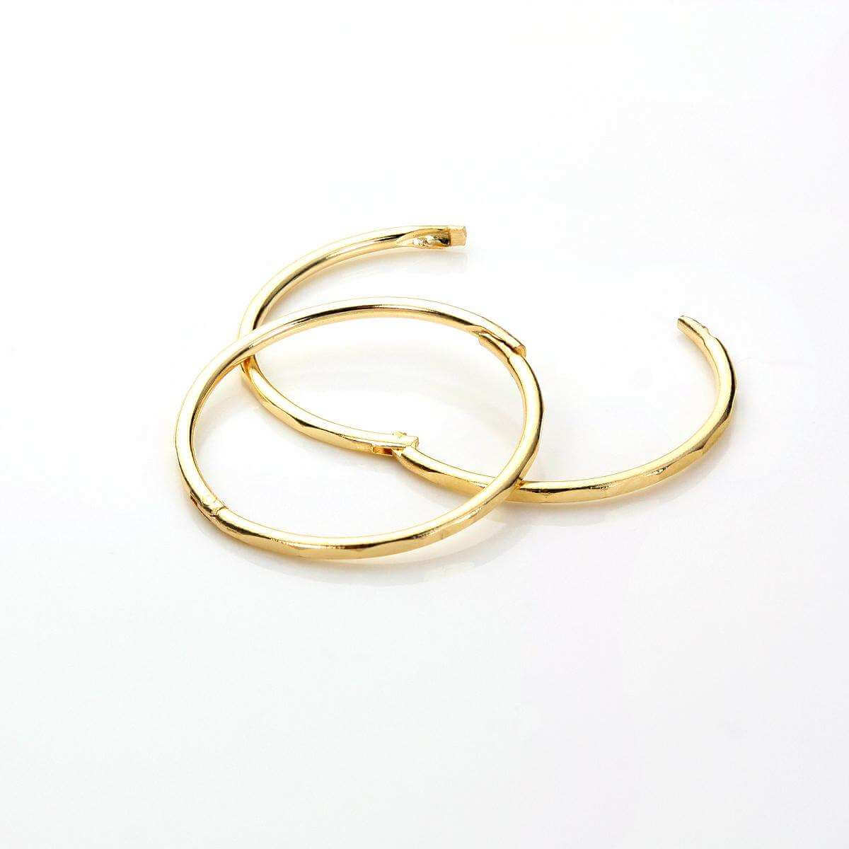 9ct Yellow Gold 15mm Faceted Hoop Earrings