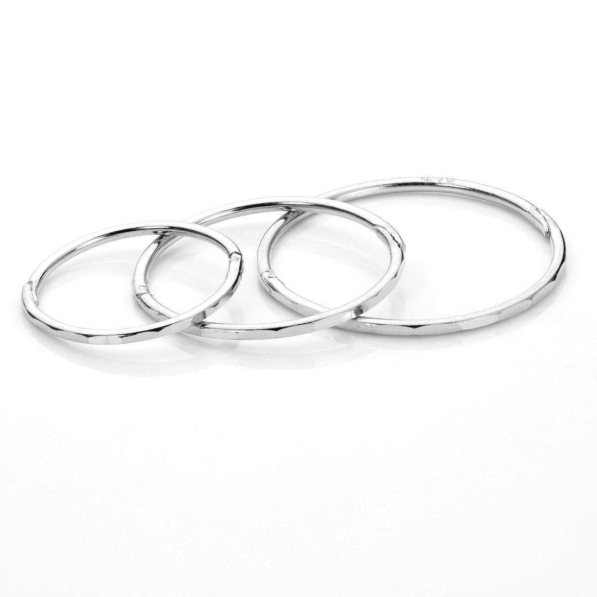 Sterling Silver Faceted Hinged Hoop Earrings