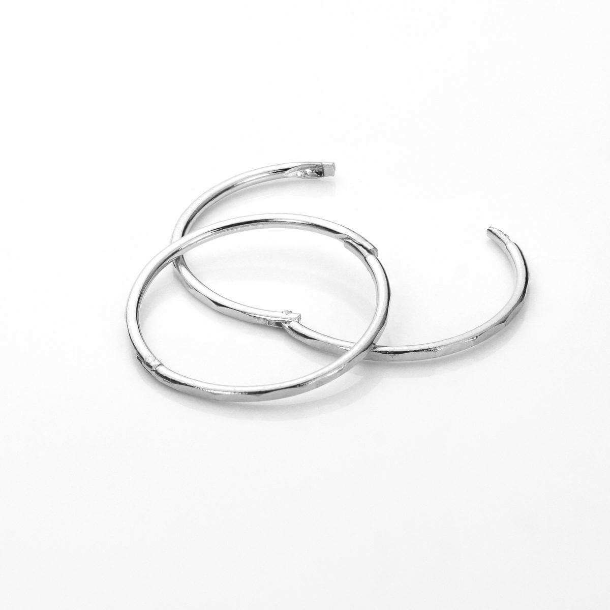 Sterling Silver 14mm Faceted Hinged Hoop Earrings