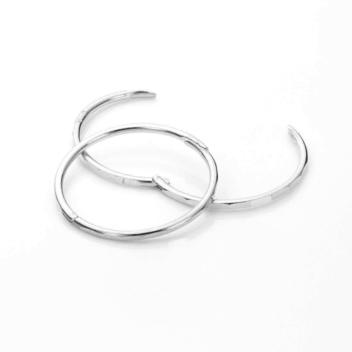 Sterling Silver 16mm Faceted Hinged Hoop Earrings