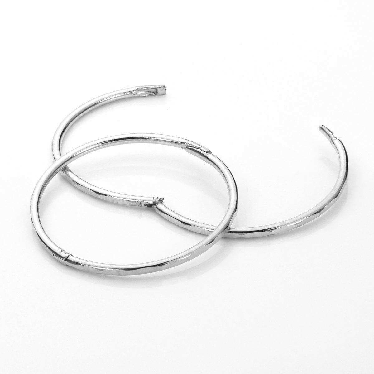 Sterling Silver 19mm Faceted Hinged Hoop Earrings