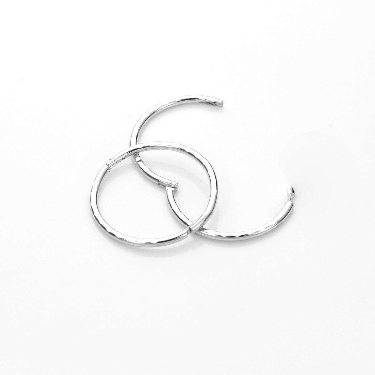Sterling Silver 13mm Diamond Cut Hinged Hoop Earrings