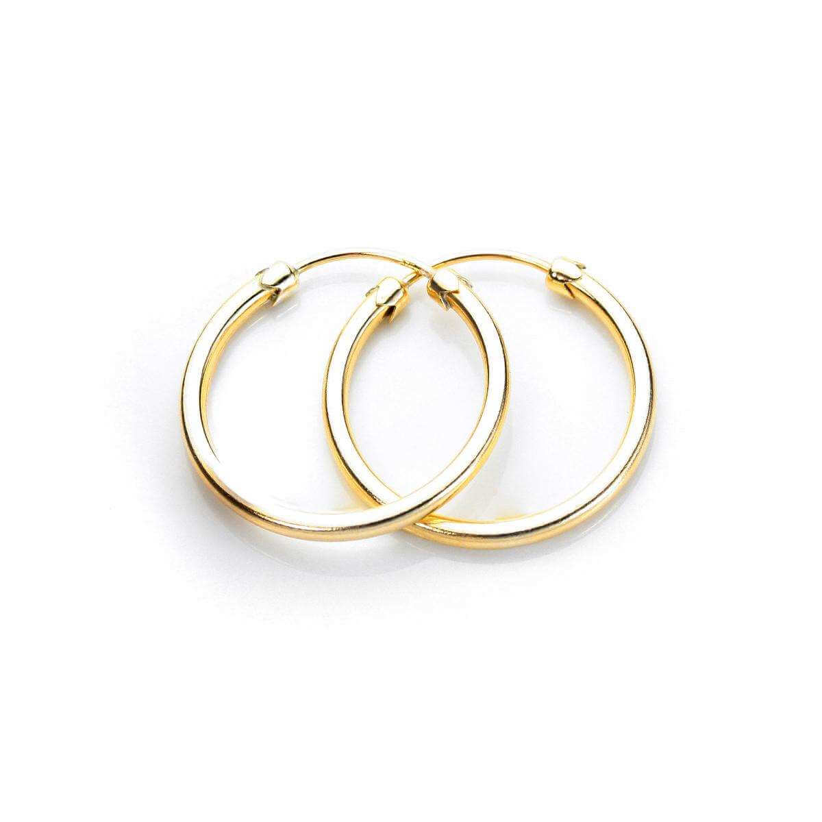 9ct Yellow Gold 20mm Plain Capped Tube Hoop Earrings