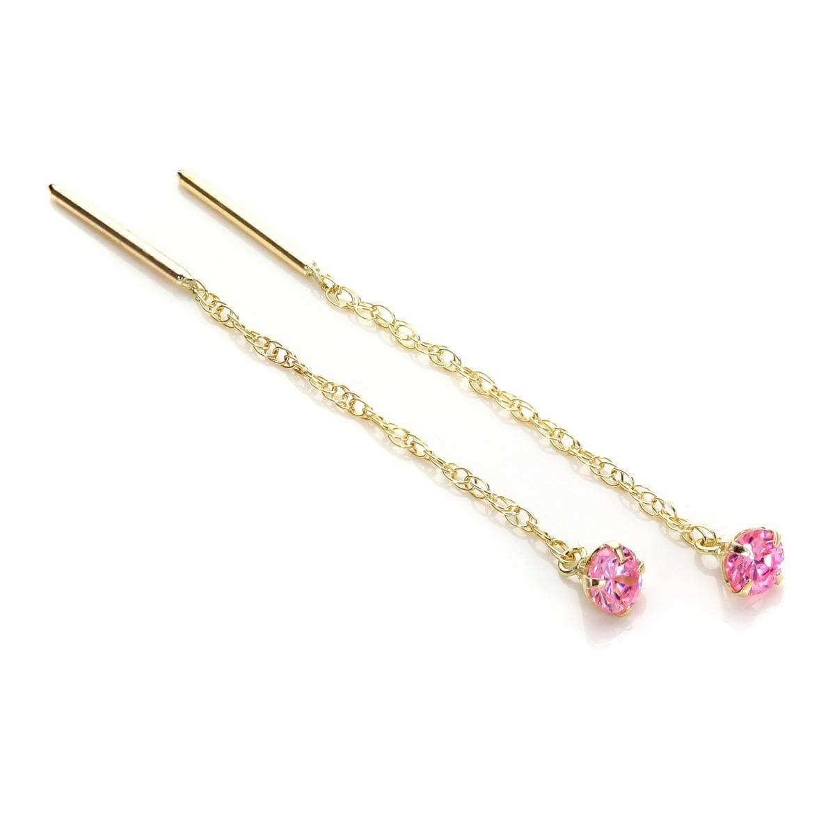 9ct Yellow Gold Pink CZ 3.5mm Pull Through Earrings