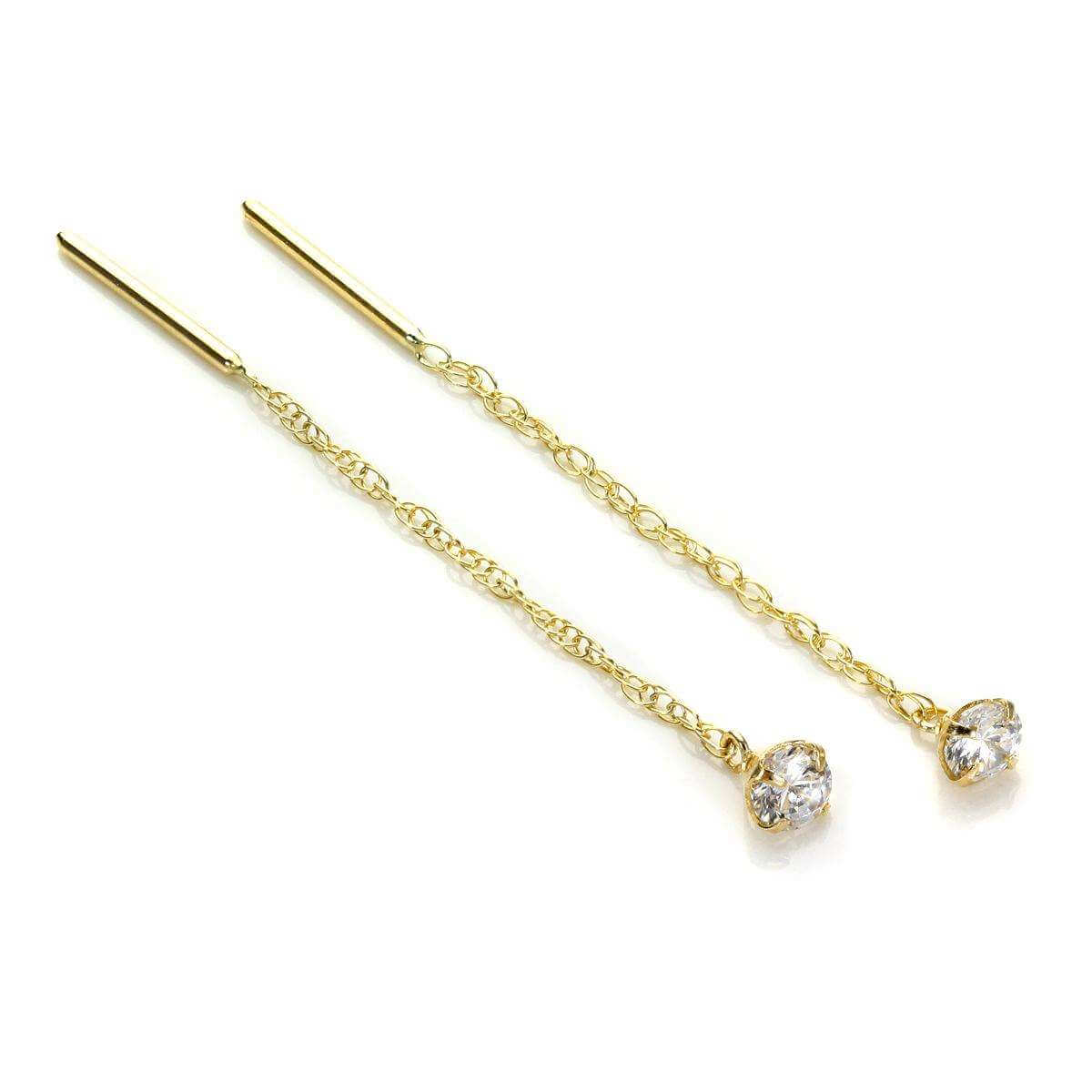 9ct Yellow Gold Clear CZ 3.5mm Pull Through Earrings