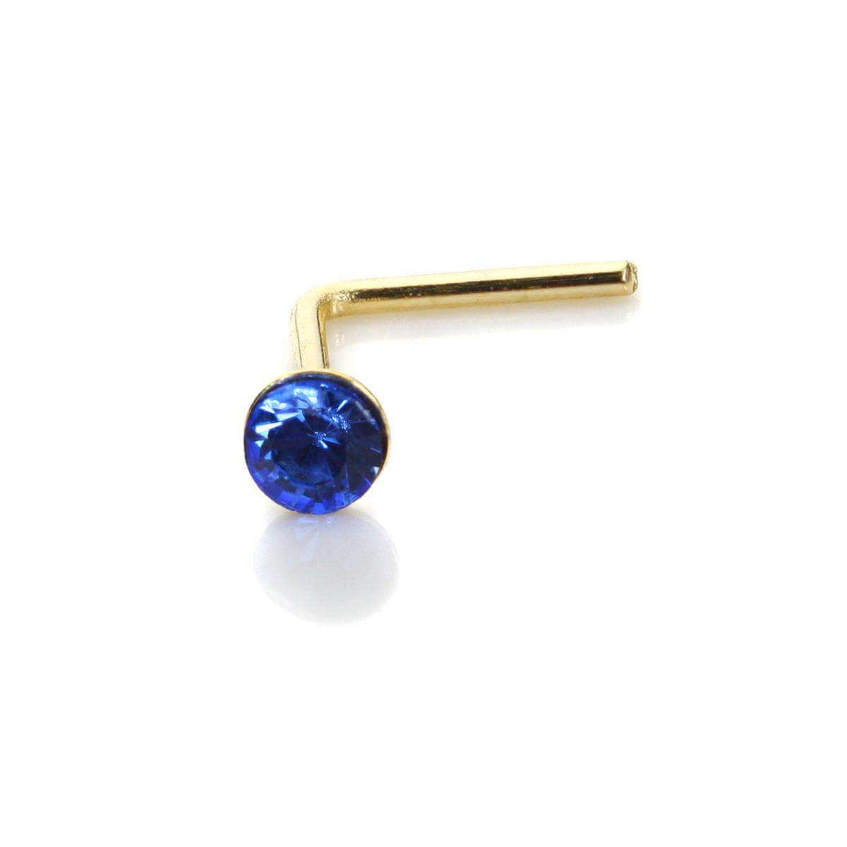 9ct Yellow Gold Sapphire CZ 2mm Nose Stud