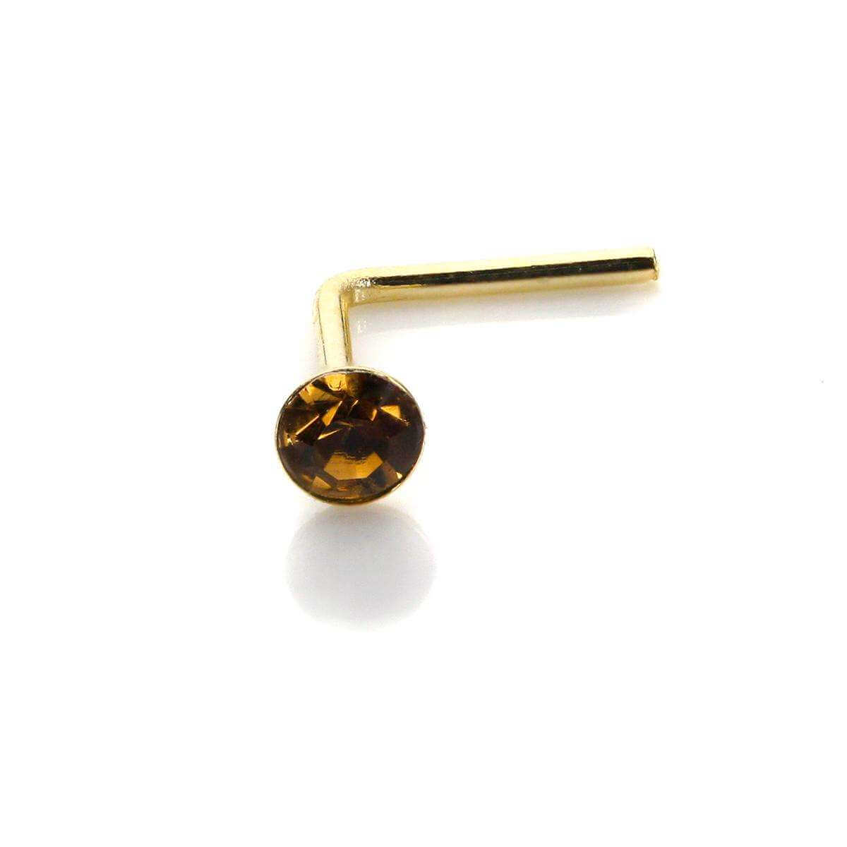 9ct Yellow Gold Smoked Topaz CZ 2mm Nose Stud