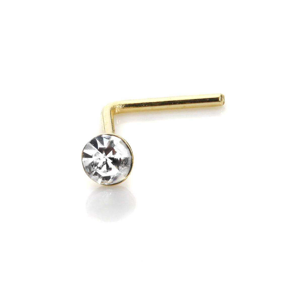 9ct Yellow Gold Clear CZ 2mm Nose Stud