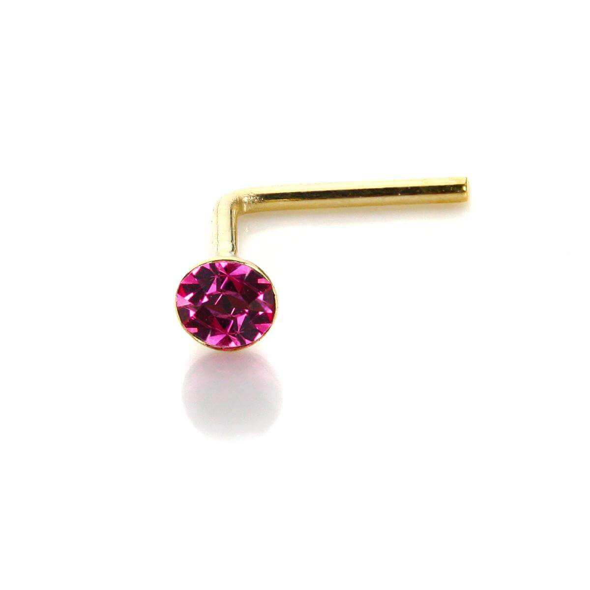 9ct Yellow Gold Rose CZ 2mm Nose Stud
