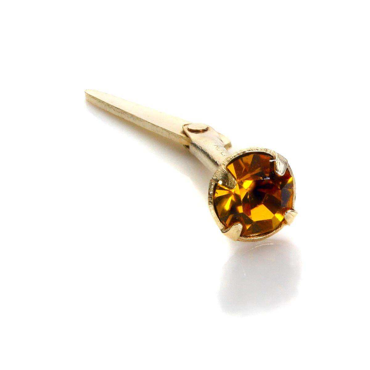 Andralok 9ct Yellow Gold Topaz CZ 3mm Nose Stud