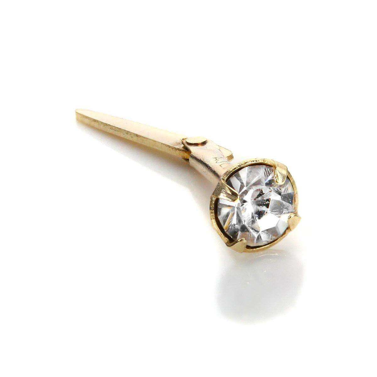 Andralok 9ct Yellow Gold White CZ 3mm Nose Stud