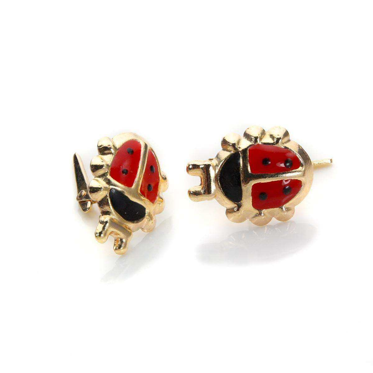 Andralok 9ct Yellow Gold Enamelled Ladybird Stud Earrings