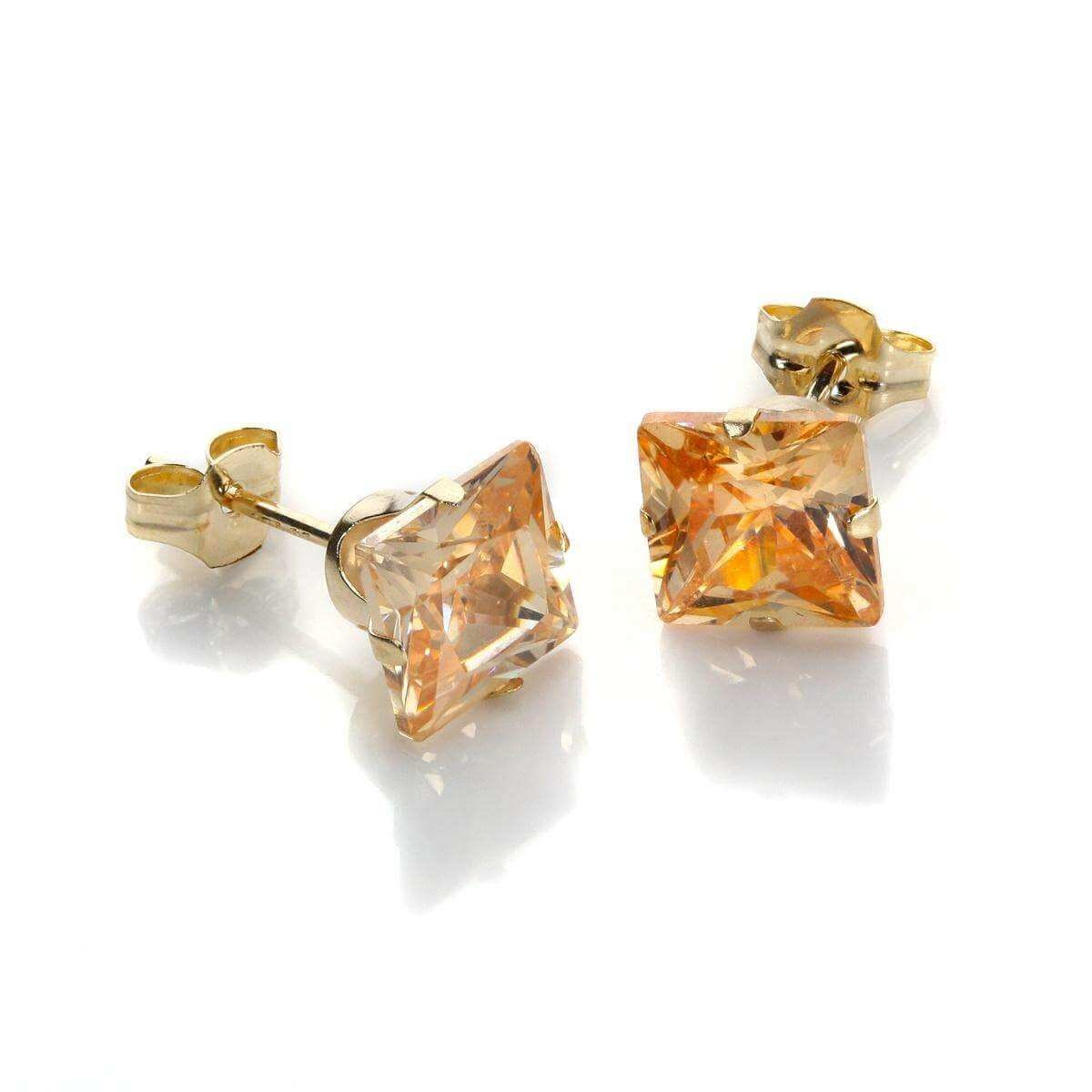 9ct Yellow Gold Champagne CZ 6mm Square Stud Earrings