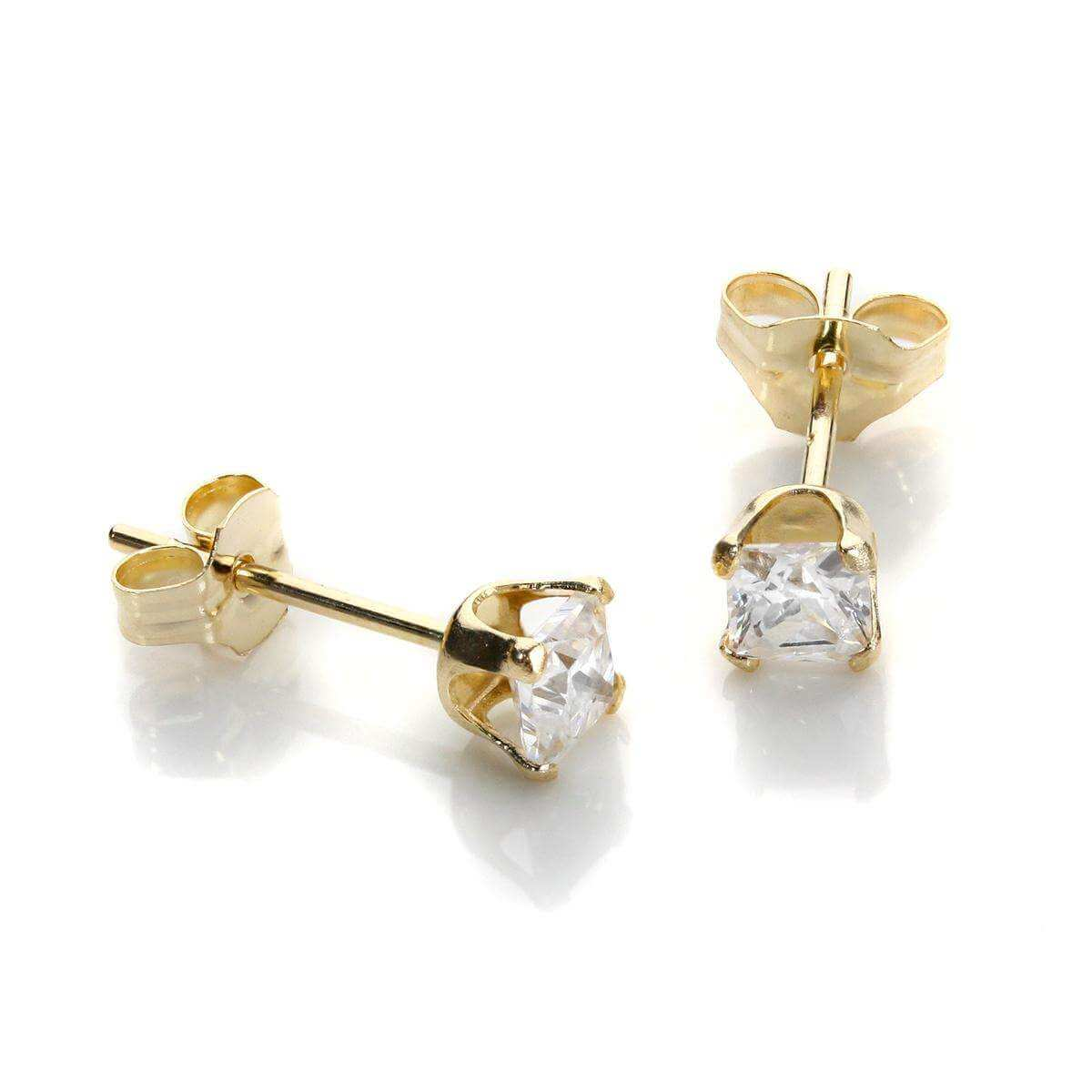 9ct Yellow Gold Clear CZ 3mm Square Stud Earrings
