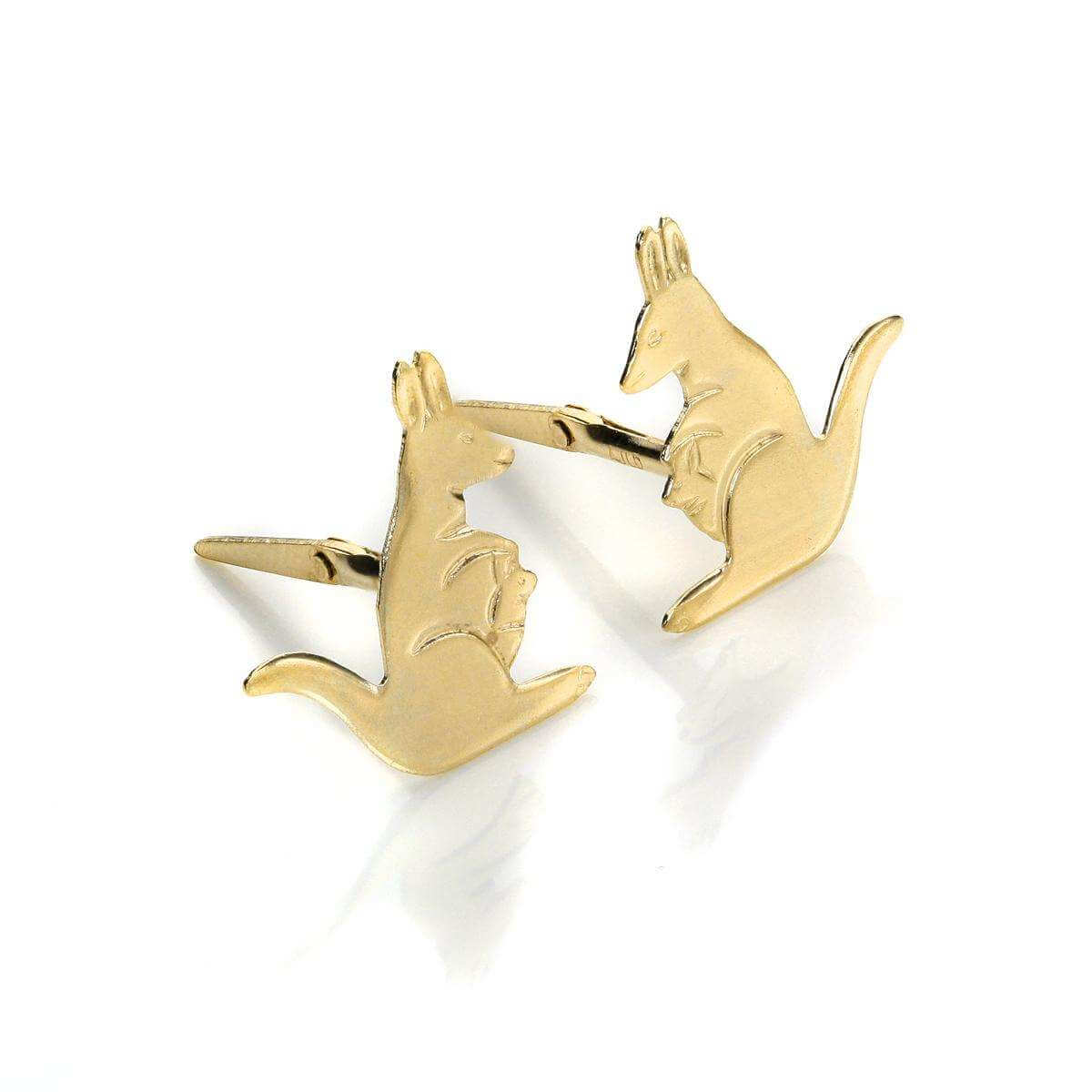 Andralok 9ct Yellow Gold Kangaroo Stud Earrings
