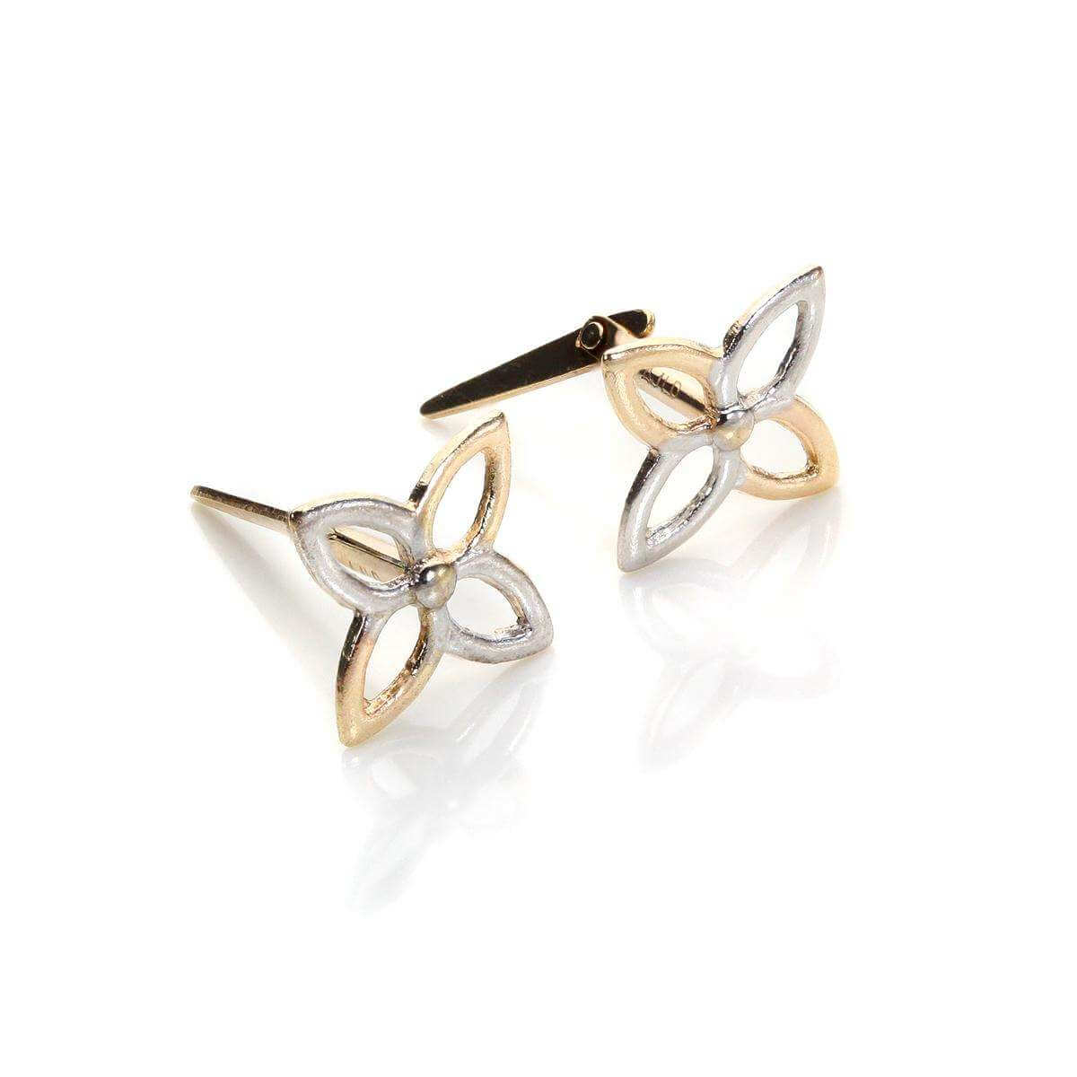 Andralok 9ct Mixed Gold 4 Petal Flower Stud Earrings