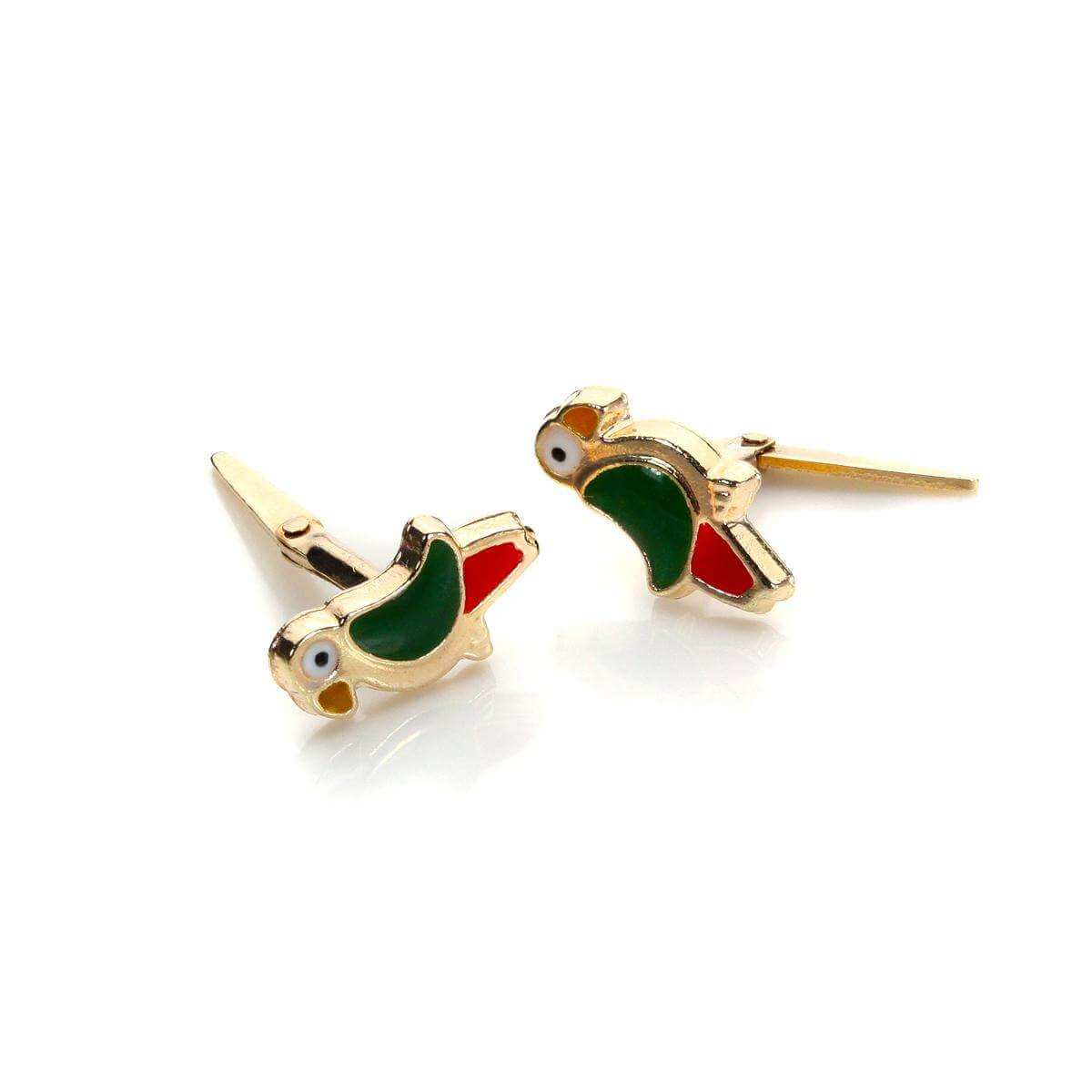 Andralok 9ct Yellow Gold Enamelled Parrot Bird Stud Earrings