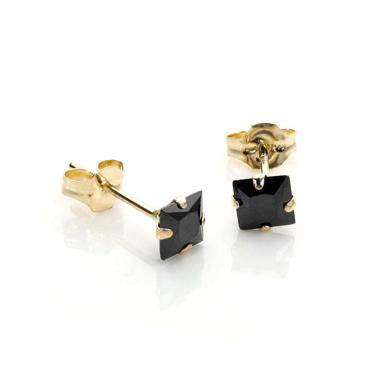 9ct Yellow Gold Black CZ Martini Claw Fitting Stud Earrings
