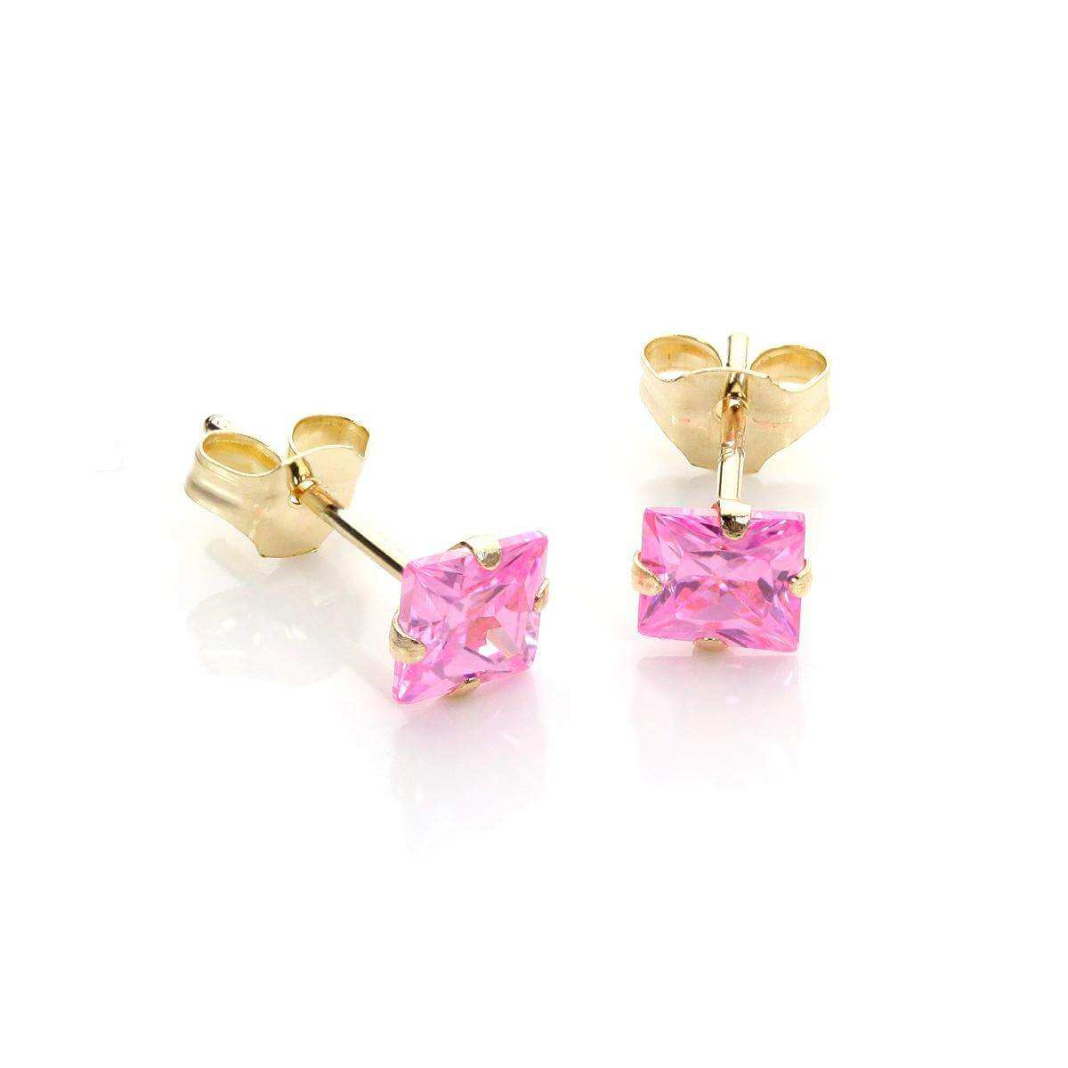 9ct Yellow Gold Pink CZ Martini Claw Fitting Stud Earrings