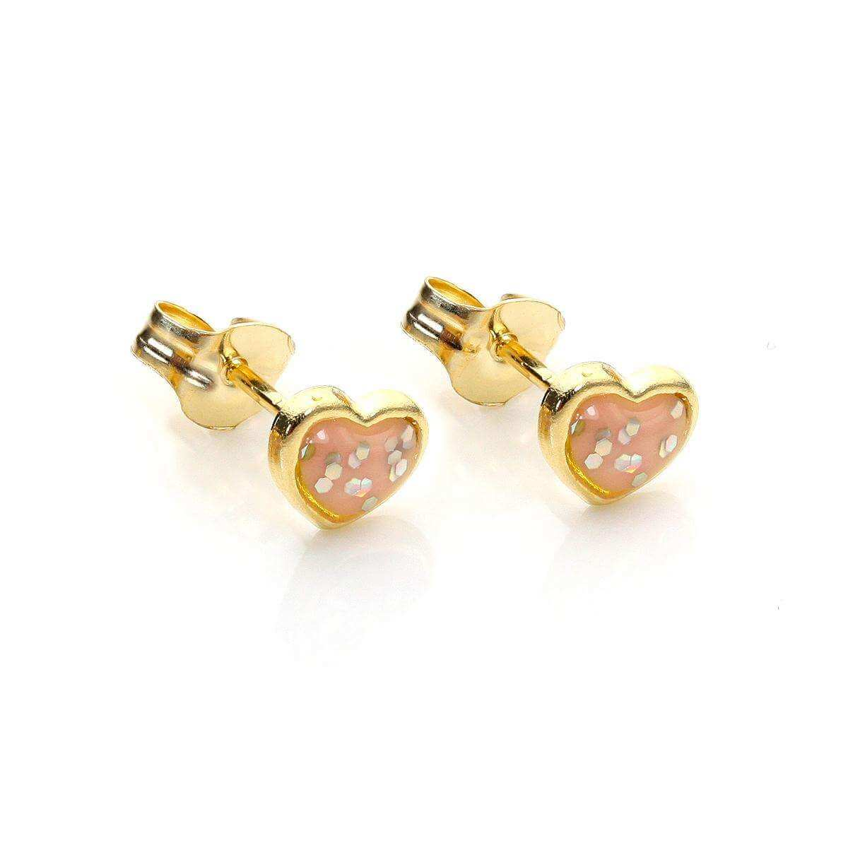 9ct Yellow Gold Enamelled & Glitter Heart Stud Earrings