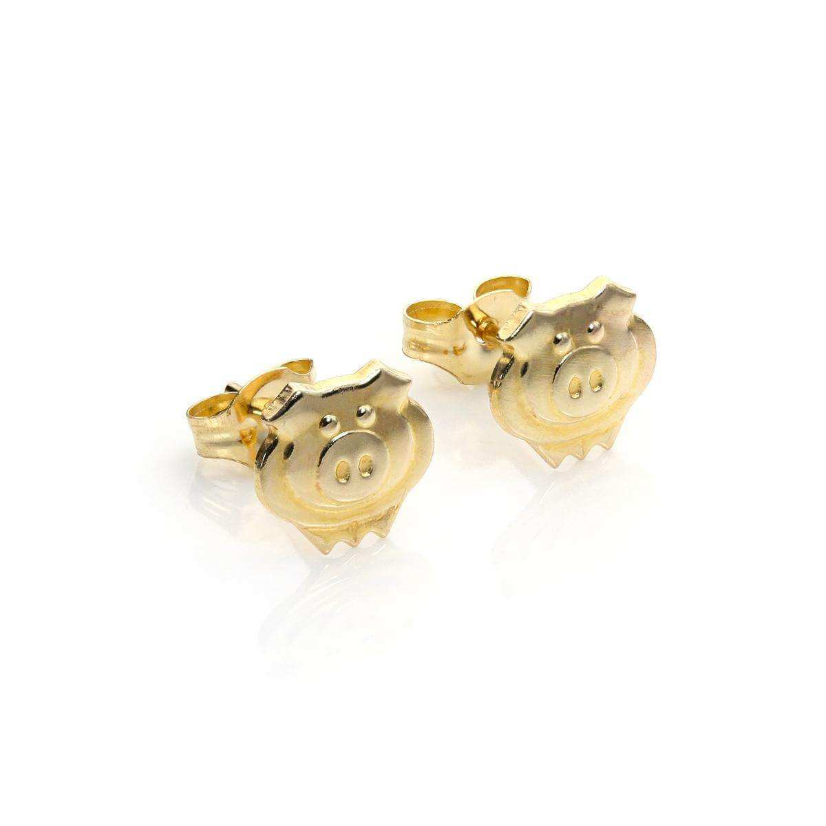 9ct Gold Cute Pig Stud Earrings