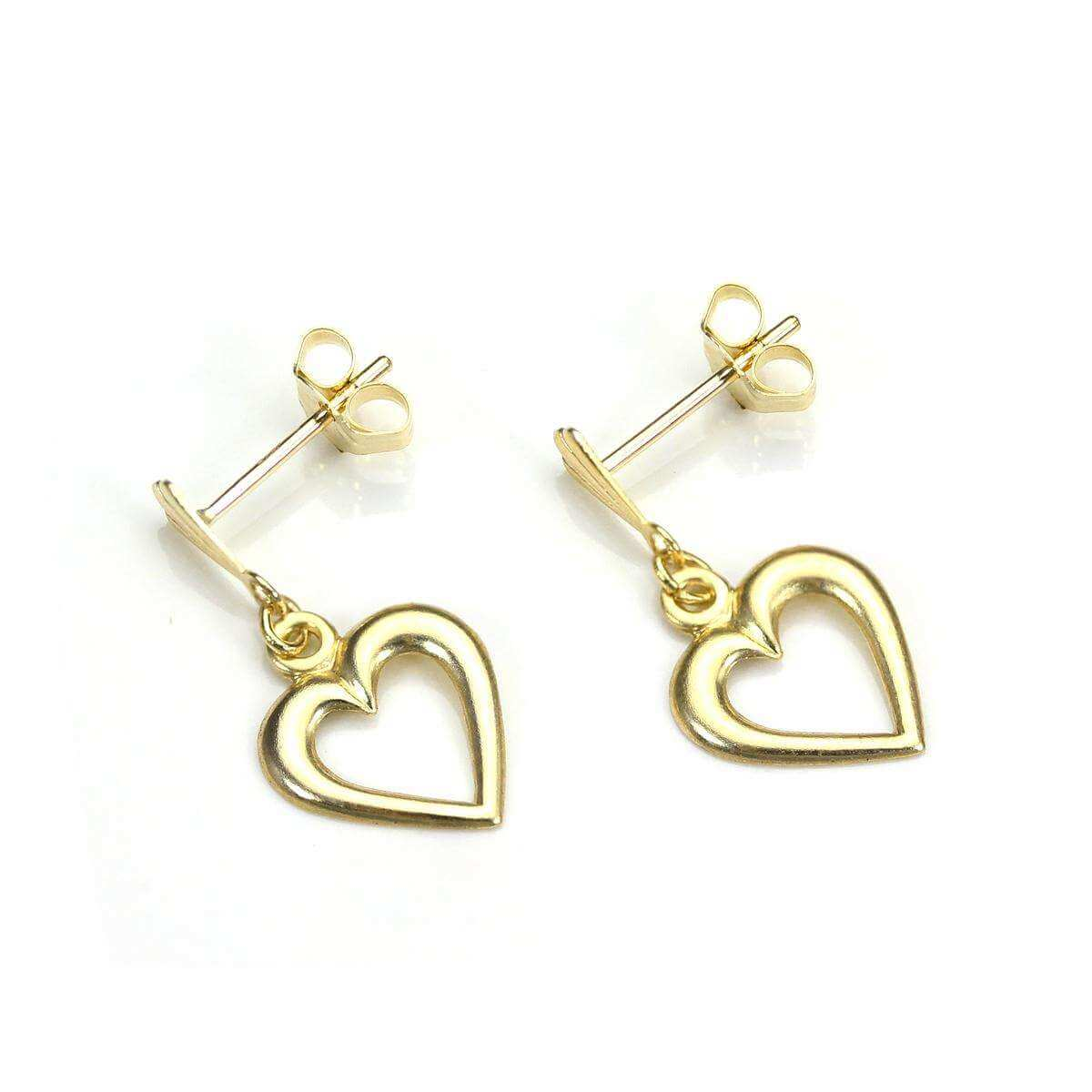 9ct Gold Open Heart Drop Earring Studs